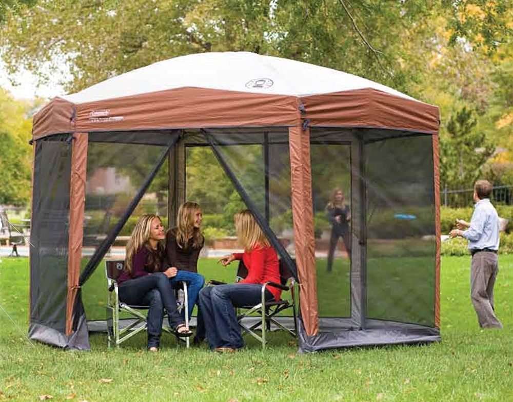 Coleman Back Home Screened Canopy Tent with People
