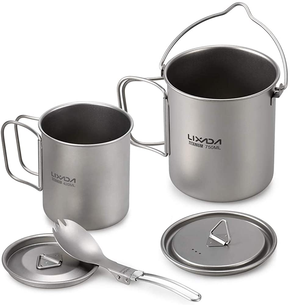 Lixada Camping Titanium Cookware Set