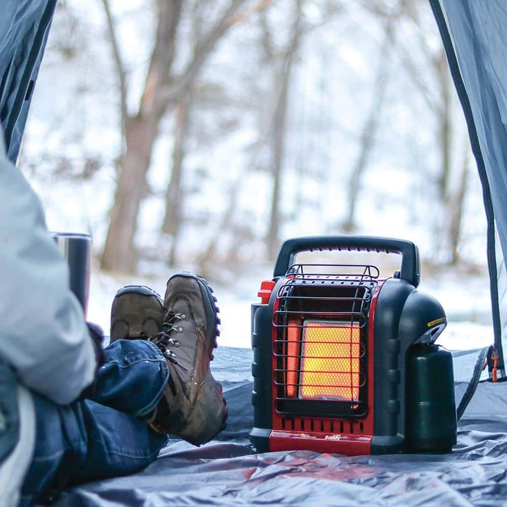 Mr. Heater MH9BX Buddy Portable Propane Radiant Heater in Tent